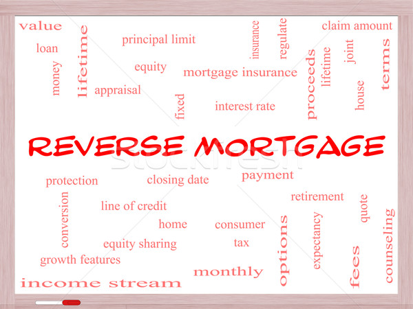 Reverse Mortgage Word Cloud Concept on a Whiteboard Stock photo © mybaitshop