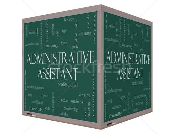 Administrative Assistant Word Cloud Concept on a 3D cube Blackboard Stock photo © mybaitshop