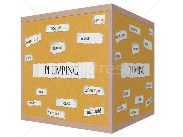 Plumbing 3D cube Corkboard Word Concept Stock photo © mybaitshop