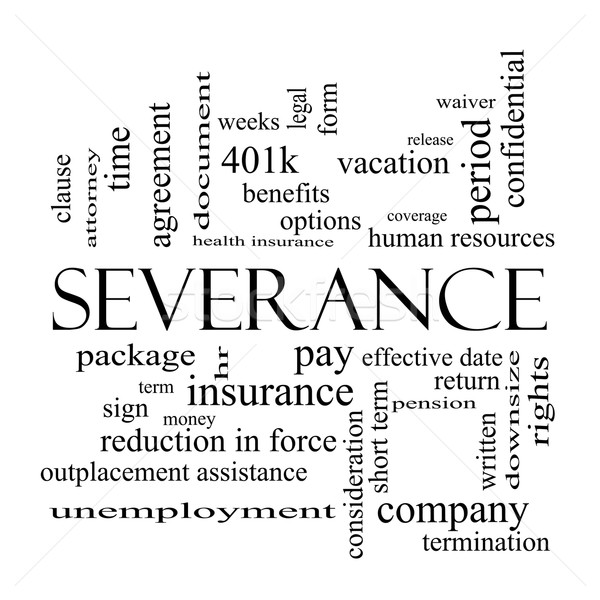 Severance Word Cloud Concept in black and white Stock photo © mybaitshop