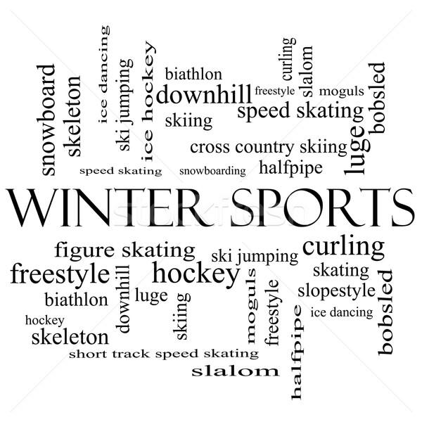 зима спортивных слово облако черно белые лыжах Сток-фото © mybaitshop