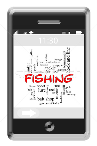 Fishing Word Cloud Concept on Touchscreen Phone Stock photo © mybaitshop