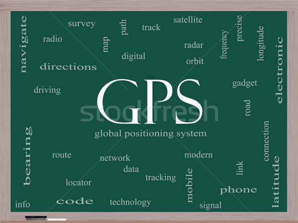 GPS Word Cloud Concept on a Blackboard Stock photo © mybaitshop