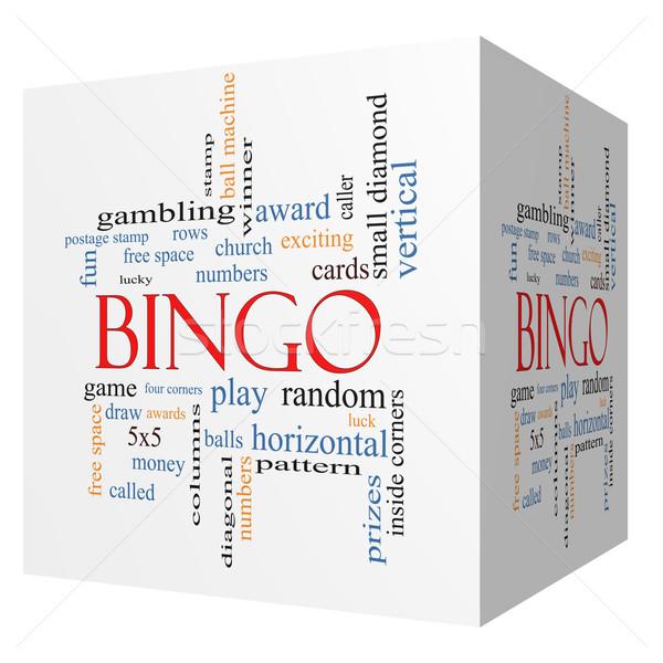 Bingo 3D cubo nube de palabras números Foto stock © mybaitshop