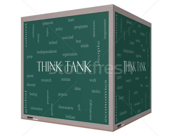 Think Tank Word Cloud Concept on a 3D cube Blackboard Stock photo © mybaitshop