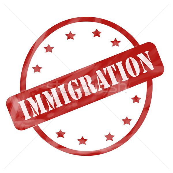 Rot verwitterten Einwanderung Stempel Kreis Sternen Stock foto © mybaitshop