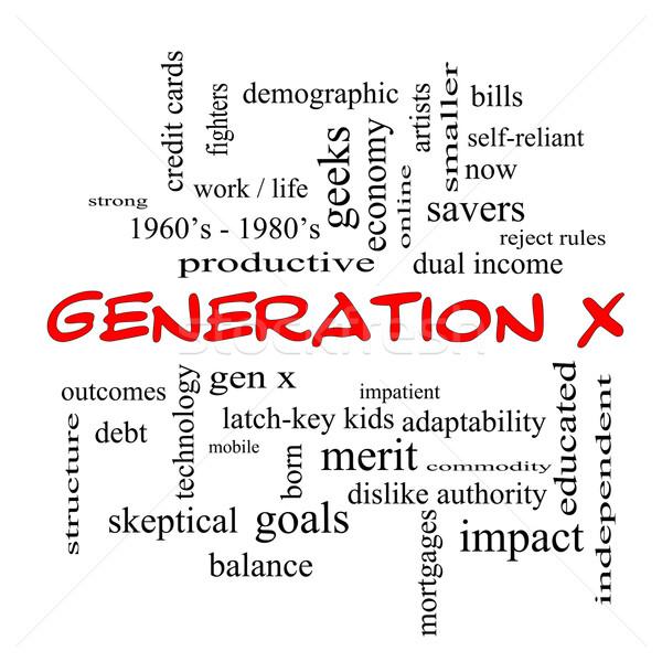 X-generáció szófelhő piros nagyszerű most jövedelem Stock fotó © mybaitshop