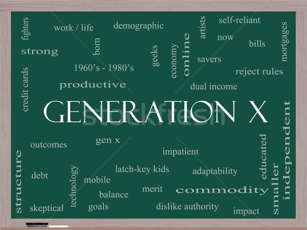 X-generáció szófelhő iskolatábla nagyszerű most jövedelem Stock fotó © mybaitshop