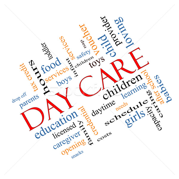 Day Care Word Cloud Concept Angled Stock photo © mybaitshop