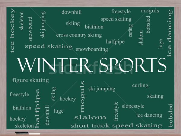 Winter Sports Word Cloud Concept on a Blackboard Stock photo © mybaitshop