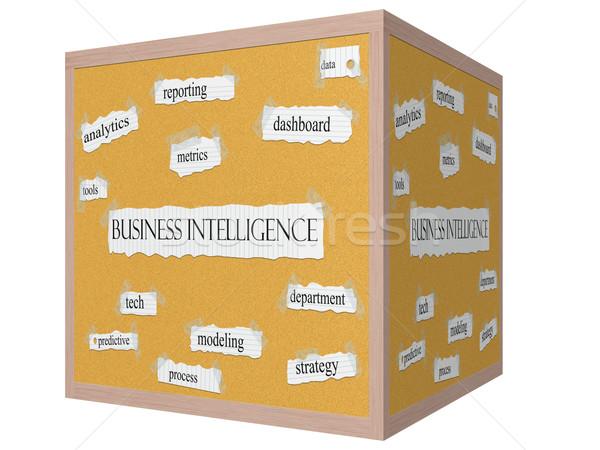 Business Intelligence 3D cube Corkboard Word Concept Stock photo © mybaitshop