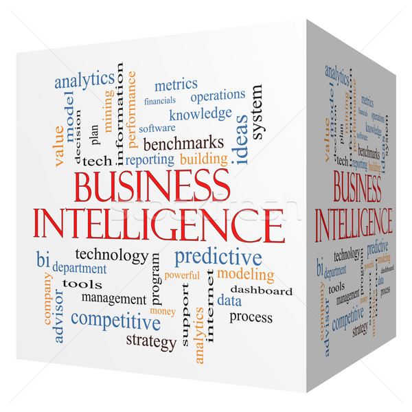 Business Intelligence 3D cube Word Cloud Concept Stock photo © mybaitshop