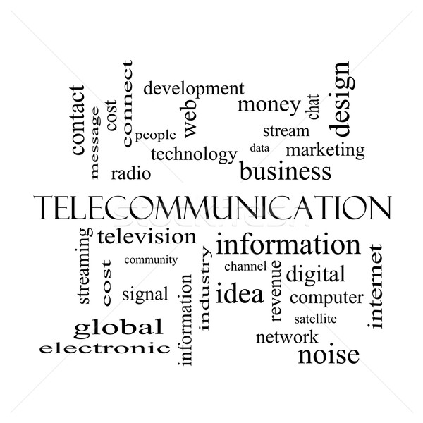 Telecommunication Word Cloud Concept in black and white Stock photo © mybaitshop