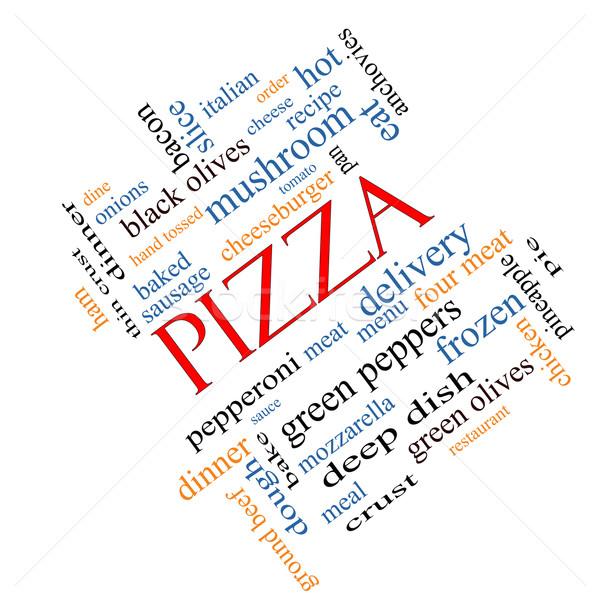 Pizza Word Cloud Concept Angled Stock photo © mybaitshop