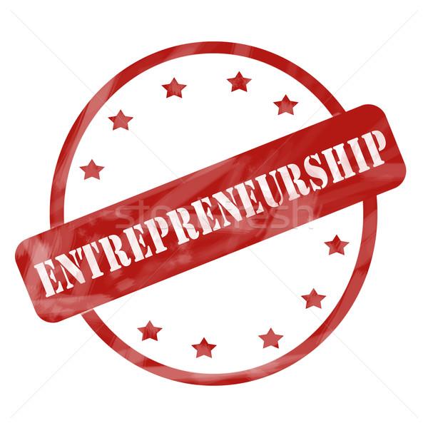 Red Weathered Entrepreneurship Stamp Circle and Stars Stock photo © mybaitshop