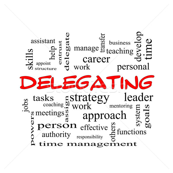 Delegating Word Cloud Concept in red caps Stock photo © mybaitshop