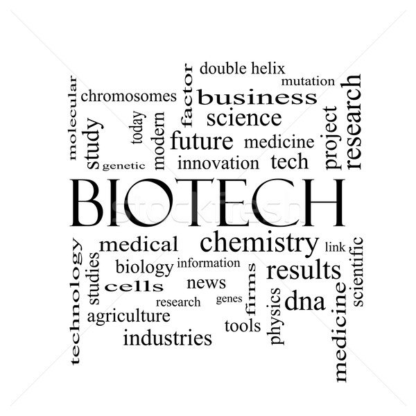Biotech слово облако черно белые медицинской ДНК Сток-фото © mybaitshop