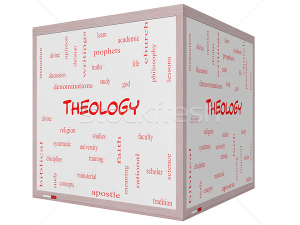 Theology Word Cloud Concept on a 3D cube Whiteboard Stock photo © mybaitshop