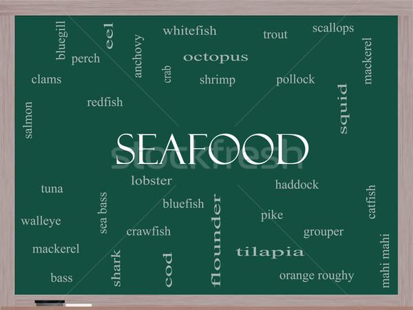 морепродуктов слово облако доске омаров креветок Сток-фото © mybaitshop