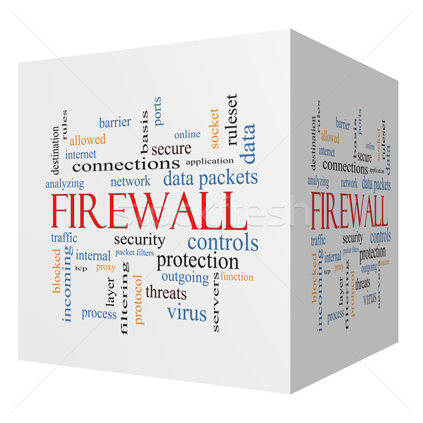 Firewall 3D cube Word Cloud Concept Stock photo © mybaitshop
