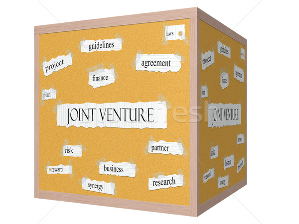 Joint Venture 3D cube Corkboard Word Concept Stock photo © mybaitshop