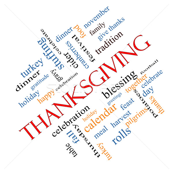 Thanksgiving Word Cloud Concept Angled Stock photo © mybaitshop