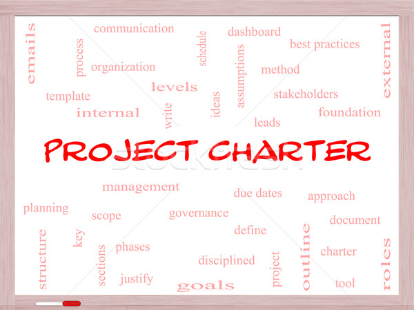 Project Charter Word Cloud Concept on a Whiteboard Stock photo © mybaitshop