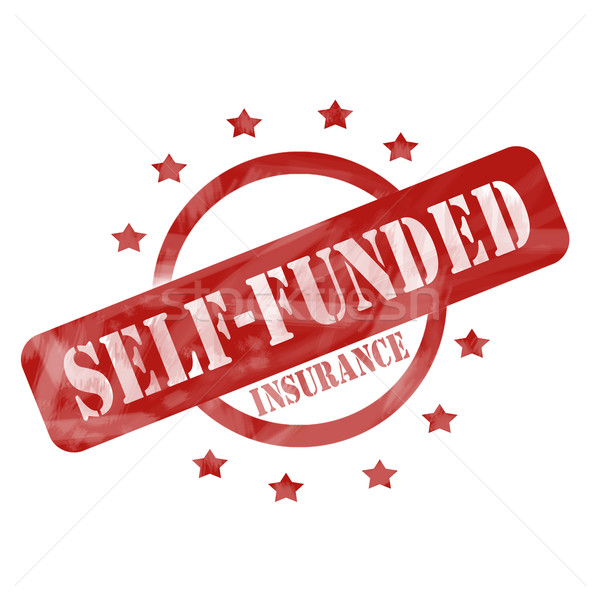 Red Self Funded Insurance Circles stamp design Stock photo © mybaitshop