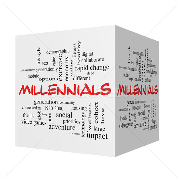 Millennials 3D Word Cloud Concept in red caps Stock photo © mybaitshop