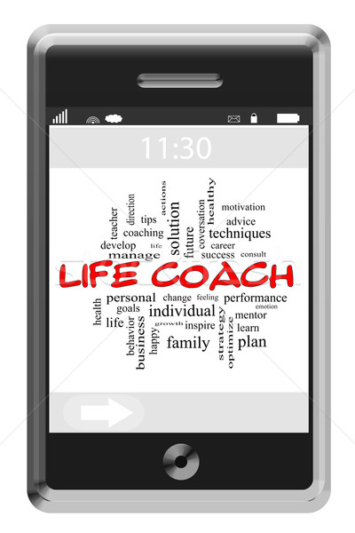 Life Coach Word Cloud Concept on a Touchscreen Phone Stock photo © mybaitshop