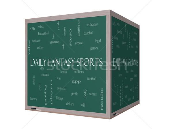 Codziennie fantasy sportowe chmura słowo 3D tablicy Zdjęcia stock © mybaitshop