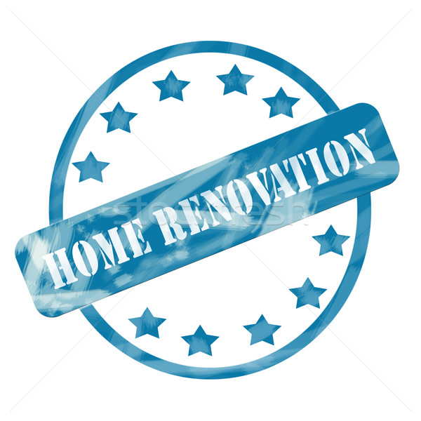 Blue Weathered Home Renovations Stamp Circle and Stars Stock photo © mybaitshop