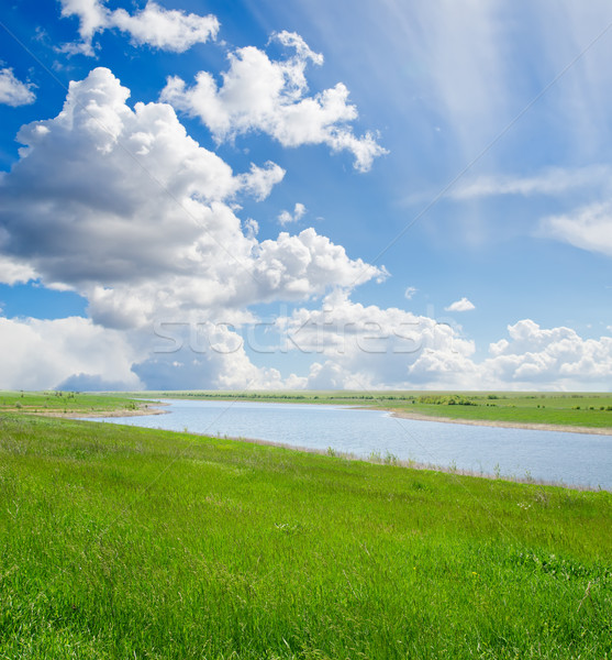 Zielona trawa mętny niebo rzeki wiosną trawy Zdjęcia stock © mycola