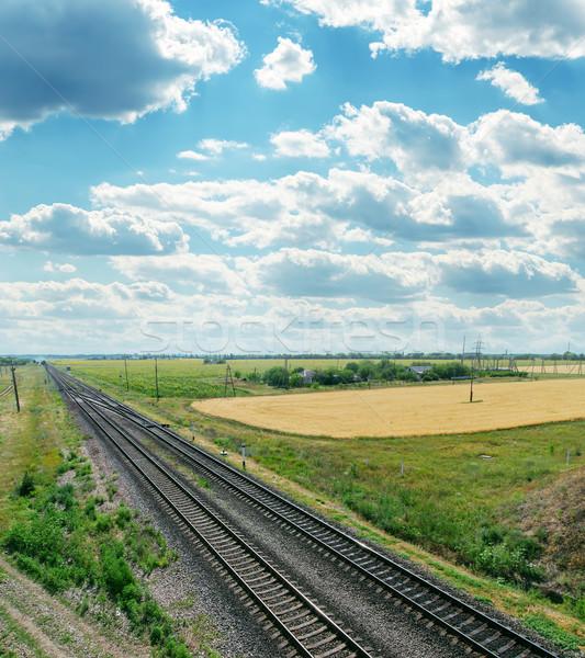 Photo stock: Horizon · nuageux · ciel · route · lumière · fond