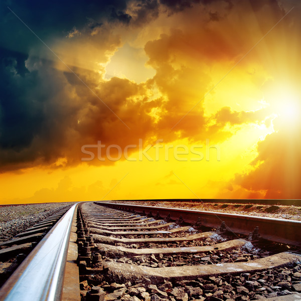 cloudy sunset over railroad Stock photo © mycola