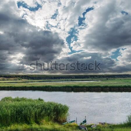 Niski chmury rzeki trawy krajobraz lata Zdjęcia stock © mycola