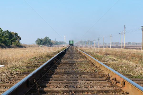 old railroad with train goes to horizon Stock photo © mycola