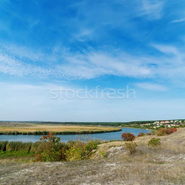 Mavi bulutlu gökyüzü nehir yaz su Stok fotoğraf © mycola