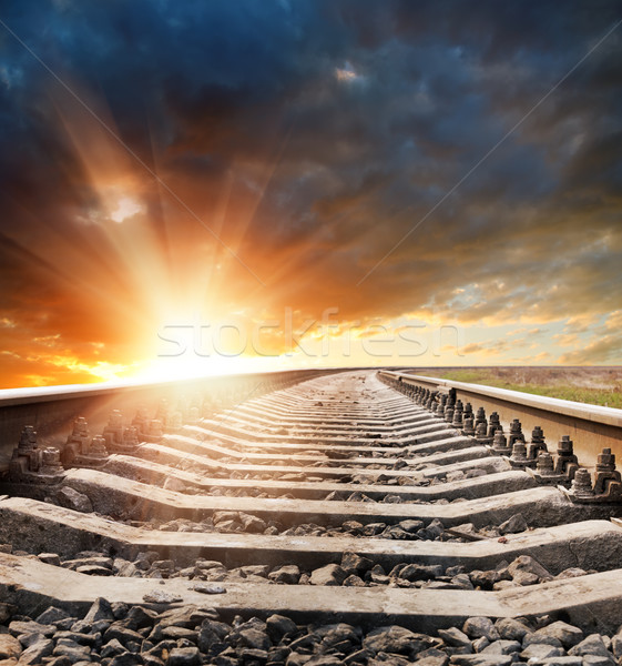 railway to horizon in sunset Stock photo © mycola