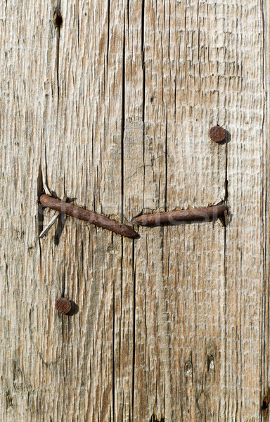textured surface of board with a rusty nail Stock photo © mycola