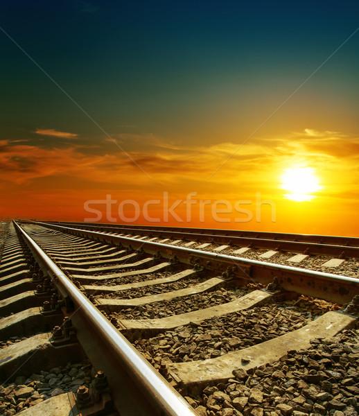 Gün batımı demiryolu soyut manzara turuncu kırmızı Stok fotoğraf © mycola
