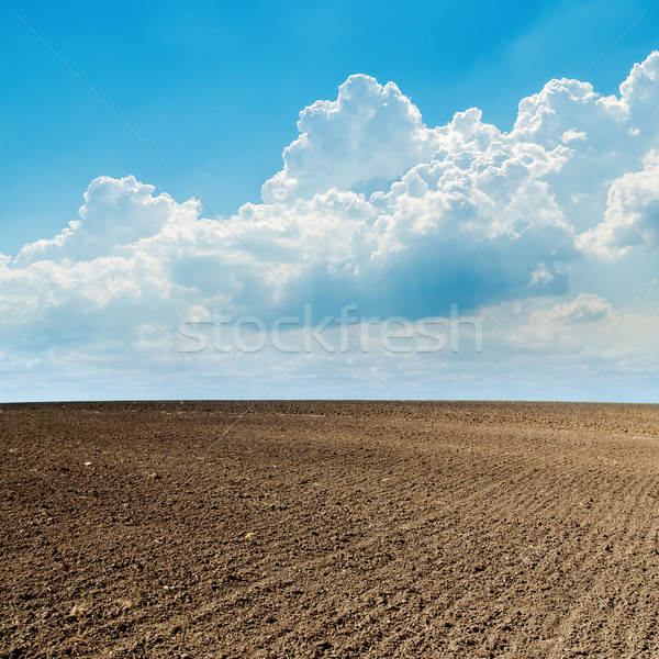 plowed field in spring and clouds over it Stock photo © mycola