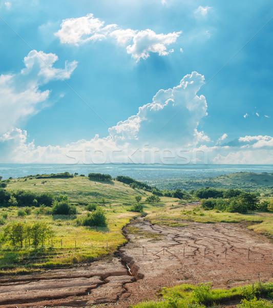 Bewolkt hemel droogte aarde licht zomer Stockfoto © mycola