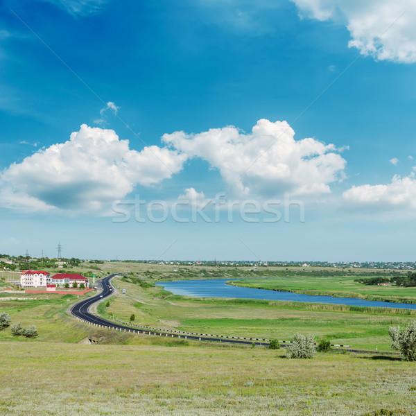 зеленый пейзаж асфальт дороги Blue Sky облака Сток-фото © mycola