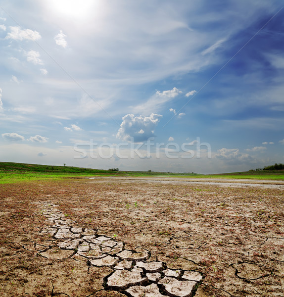 Foto stock: Dramático · céu · secar · rachado · terra · natureza