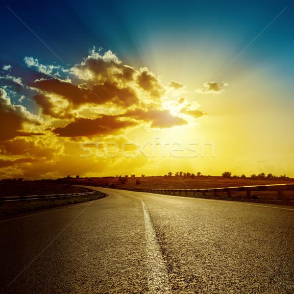 劇的な 日没 道路 地平線 抽象的な 光 ストックフォト © mycola