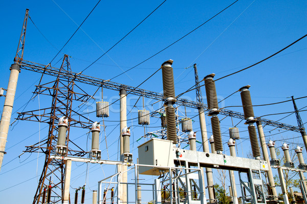 part of high-voltage substation Stock photo © mycola