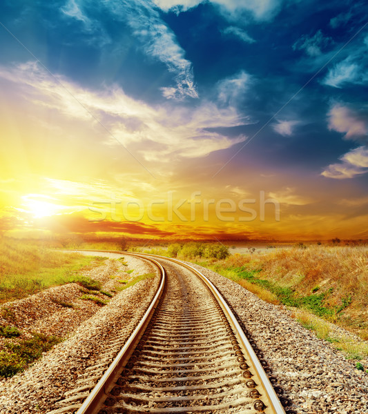 good sunset in colored sky over railroad Stock photo © mycola
