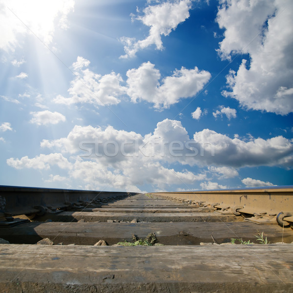 Stock photo: railroad under dramatic sky