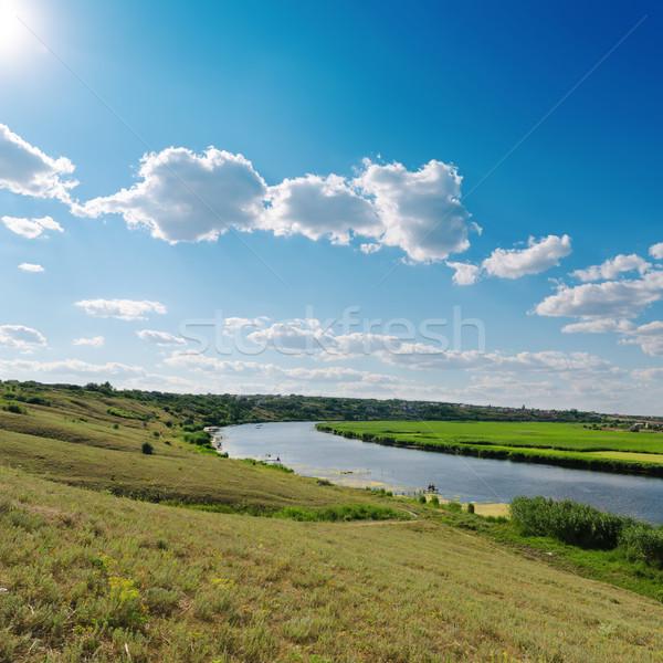 Nublado céu sol rio paisagem verão Foto stock © mycola